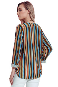 Yellow Multicolor Striped Asymmetric Button Down Shirt