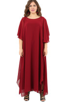 Red Plus Size Ruffle Chiffon Maxi Dress with Slit Sleeves