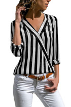 Black White Stripe Long Sleeve V Neck Shirt
