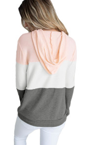 Pink Atop Triple Colorblock Pullover Hoodie