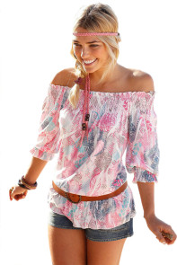Multicolor Floral Off Shoulder Half Sleeve Blouse