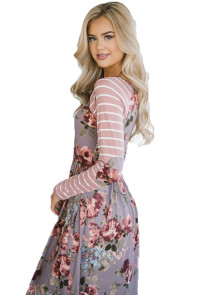 Light Purple Floral Stripe Long Sleeve Side Pocket Boho Dress