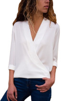White Wrap Front Long Sleeve Blouse