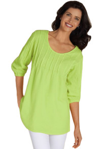 Grassy Pintuck Quarter Sleeved Tunic To