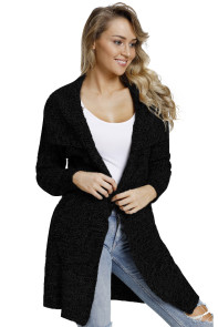 Black Chunky Long Cardigan with Side Pockets