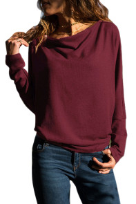 Burgundy Concise Pullover Sweatshirt