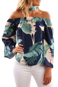 Navy Leaves Print Off Shoulder Blouse with Choker
