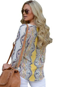 Yellow Bohemian Print Tassel Tie V Neck Blouse