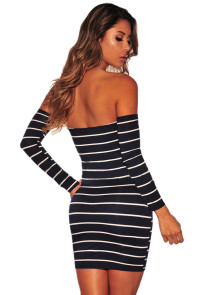 Black White Striped Off Shoulder Long Sleeves Dress