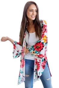 Lightweight Bell Sleeve White Floral Cardigan