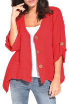 Red Roll Tab Sleeve Button Front Casual Shirt
