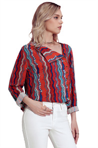 Multicolor Print Asymmetric Button Down Shirt
