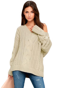 Khaki Cable Knit V Neck Sweater