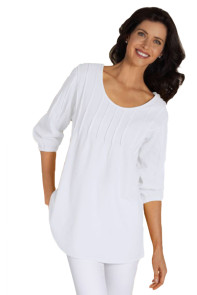 White Pintuck Quarter Sleeved Tunic Top