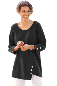 Black Button Detail Long Sleeve Cotton Top