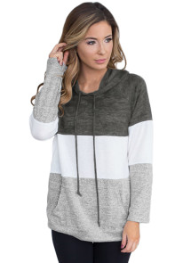 Charcoal Atop Triple Colorblock Pullover Hoodie