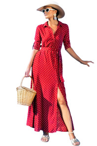 Red Polka Dot Button Down Maxi Shirt Dress