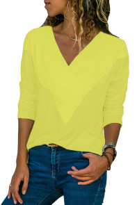 Yellow Long Sleeve V Neck Casual Top