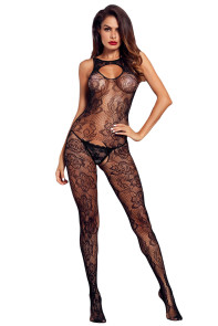 Black Sleeveless Crotch Flower Embroidery Body Stocking