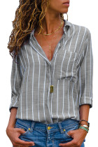 Gray Striped Roll Tab Sleeve Button Shirt