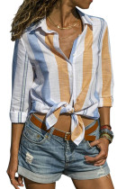 Yellow Blue Striped Cotton Shirt for Women