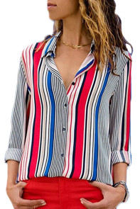 Red Blue Striped Modern Women Shirt