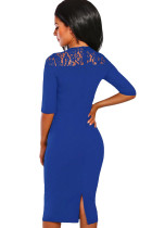 Royal Blue Lace Insert Notch V Neck Midi Dres