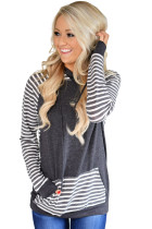 Gray Double Hooded Striped Sweatshirt