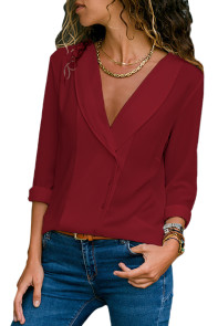 Burgundy Lapel V Neck Button Down Blouse