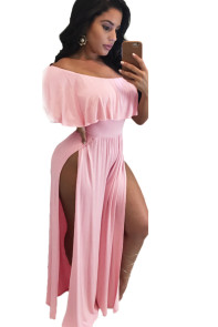 Pink Ruffle Off Shoulder High Slit Wide Leg Party Jumpsuit