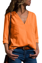 Orange Pockets V-Neck Long Sleeve Blouse
