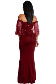 Pearl Mesh Flounce Burgundy Mermaid Party Dress