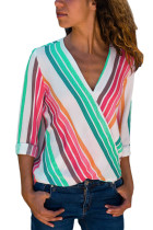 Colorful Stripe Long Sleeve V Neck Shirt