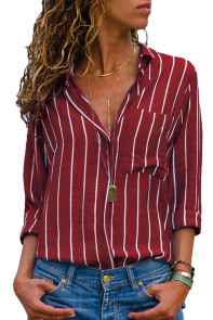 Burgundy Striped Roll Tab Sleeve Button Shirt