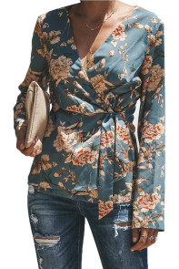 Blue Sage Daisy Floral Wrap Tie Waist Long Sleeve Blouse