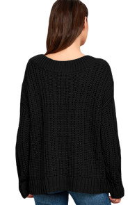 Black Cable Knit V Neck Sweater