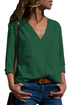 Green Pockets V-Neck Long Sleeve Blouse