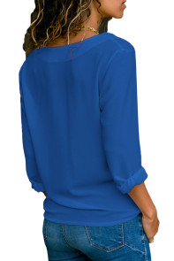 Royal Blue Lapel V Neck Button Down Blouse