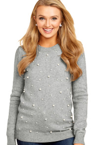 Gray Pearled Women Sweater