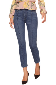 Retro Blue Designful Seam Accent Raw Hem Jeans