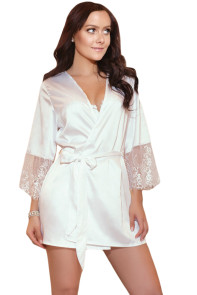 White Sash Eyelash Lace Sleeves Robe