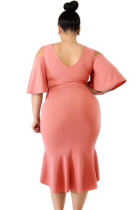 Salmon Flutter Sleeve Cold Shoulder Plus Size Dress
