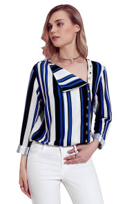 Blue White Black Striped Asymmetric Button Down Shirt