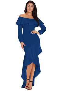 Blue Lantern Sleeve Asymmetric Ruffle Hem Evening Dress