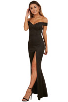 Black Off Shoulder Sweetheart Neck Side Slit Evening Dress