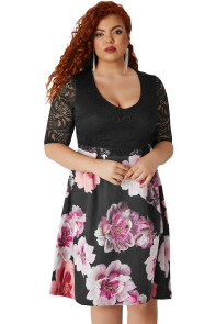 Black Lace Overlay Floral Skirt Curvy Dress