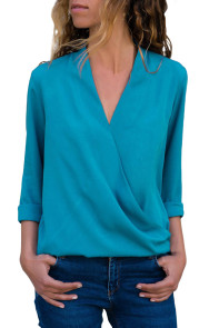 Sapphire Wrap Front Long Sleeve Blouse