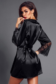 Black Sash Eyelash Lace Sleeves Robe