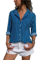Royal Blue Striped Button Front Shirt