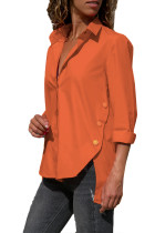 Orange Long Sleeve Button Detail Shirt